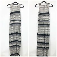 LOFT Small Womens Black Ivory Striped Sleeveless Knit Maxi Dress