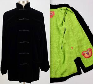 New sz M Shanghai Tang jacket black velvet frog closure