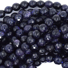 """Faceted Blue Goldstone Round Beads Gemstone 14.5"""" Strand 4mm 6mm 8mm 10mm 12mm"""