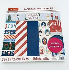 "CRAFTSMART Paper Pad 12""x12"" 48 Sheets Christmas Holiday Ballet 24 Art Designs"