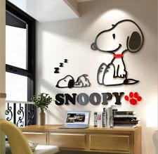 Cartoon Snoopy Wall Stickers 3D DIY Kids Room School  Acrylic Pmma Mural 80*70cm