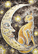 ACEO  Fantasy Original Cat on the Moon