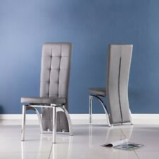 Faux Leather Dining Chair Pack of 4 or 6 in Back Brown White Grey, Chrome Frame