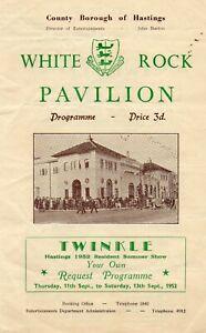HASTINGS WHITE ROCK PAVILION 1952 'TWINKLE' CLARKSON ROSE PROGRAMME.