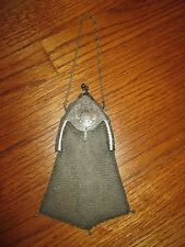 "Antique Art Deco Whiting Davis Silver Mesh ""Piccadilly"" Handbag Purse"