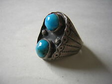 Vintage Old Pawn Navajo TURQUOISE Silver MENS RING size 11