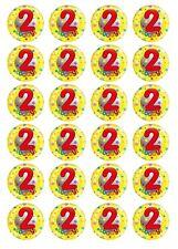 24 x 2nd Birthday Boy #1 Edible Cupcake Toppers Pre-Cut