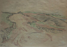 Georg Jacobsen, color drawing. French coastal landscape, Brittany 1928