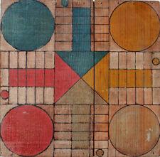 Plateau ancien en bois jeu LUDO dimensions 39,5 x 39,5 cm
