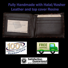 *New* Handmade Bi-Fold Genuine Leather Wallet - Ostrich - 8 Card Slot - Brown