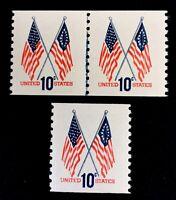 "US Stamps, Scott #1519 US Flags 10c ""Blue"" JLP & single. XF/Sup M/NH. Fresh."