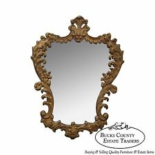 Vintage Gilt Wood Rococo Style Hanging Wall Mirror