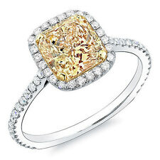 Stunning GIA 1.20 Ct. Fancy Yellow Radiant Cut Diamond Engagement Ring VS2 18k