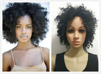 Black women's short afro Fluffy curly hair wigs Free wig cap