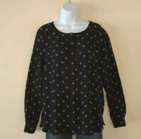 Women's LOFT Black & White Polka Dots Long Sleeve Button Front Top Blouse Med
