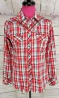 ARIAT Western Shirt Size PS Womens Red Blue Plaid Embroidered Snap Long Sleeve
