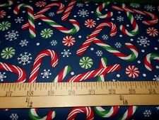 1 yard  Candy Canes on Navy Christmas  Fabric