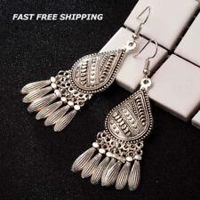 Women Fashion Silver Boho Tassel Chandelier Dangle Hook Earrings Gypsy Bohemian