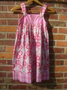 LOVELY Girls Handmade Pink White Floral Contrasting Bodice Sundress Sz 6/7 T