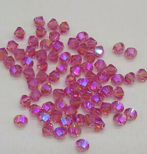 24pc Swarovski Crystal Rose Shimmer 2X 4mm Bicone 5328 Beads; Limited Edition