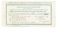 OBLIGATION VILLE DE PARIS 1871