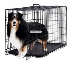 "Folding Black 48"" 2-Door Pet Dog Cage Kennel with Divider, Cat Cage Kennel with"