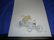 Vintage Colin Bailey Cartoon Print Frog in Race Car 8½x11 inch Very Good