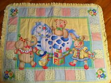 Handmade Baby Quilted Quilt Nursery Blanket or Wall Hanging Yellow with Animals