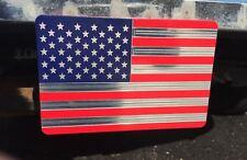 AMERICAN FLAG, POWDER COATED, Billet Aluminum Trailer Hitch plug Cover,  4X6