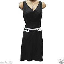 Next Black White Tailored  60s Style Linen Summer Office Wiggle Dress 12 UK