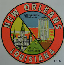 ORIGINAL VINTAGE TRAVEL DECAL NEW ORLEANS LOUISIANA CITY CATHEDRAL TRADE MART RV
