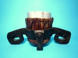 AMAZING VINTAGE DESK CARRYING CUP HANDMADE FROM METAL & GENUINE LEATHER!!!