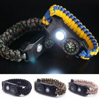 Paracord Survival Bracelet Flint Fire Starter Compass Whistle Wrist Outdoor
