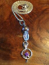 AMETHYST SILVER AND FLOWER NECKLACE AND CHAIN