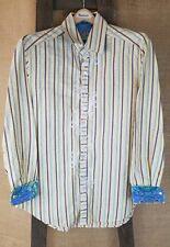 Robert Graham Hombre M Multicolor Algodón de Rayas Lujo Informal L/S Camiseta
