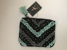 Womens Black & Mint Sequin Clutch Coin purse hand carry bag Prom cocktail party