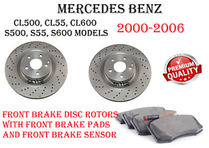 Front Brake Disc Rotors With Ceramic Brake Pads & Sensor For Mercedes W220 W215