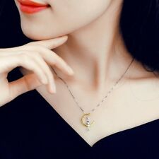 Sitting On 1/2 Moon Necklace + Earrings Cute 2 Tone Sterling & Gold Filled Cat
