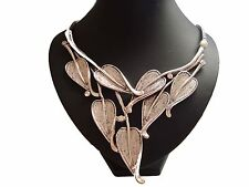 Stunning Big Chunky Leaf Diamante Stones Silver StaTemenT Necklace