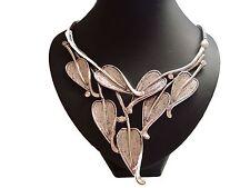 Impresionante Grande Grueso Hoja Diamante Piedras distintivo collar de plata
