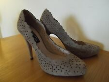 NEXT Signature Court Shoes Coffee Brown/Taupe Cut Out Suede Heels UK Size 6.5