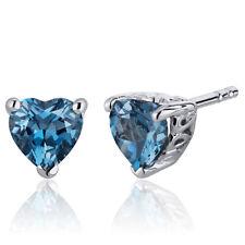 2 CT Heart Blue London Blue Topaz Sterling Silver Stud Earrings