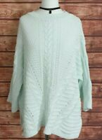Ladies LAGENLOOK Jumper Chunky Knit 3/4 Sleeves MINT GREEN Size UK-12/14 SOUTH