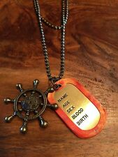Army Military gold old fashioned Captain wheel  Alloy Dog Tag Pendant Necklace