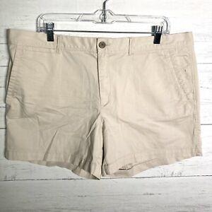 "NEW Banana Republic 5"" Chino Shorts Light Khaki Women's Size 14 NWT $39.99"