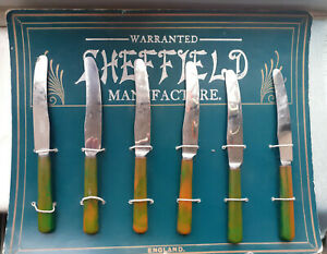 Advertising DISPLAY CARD Firth Stainless ART DECO Phenolic Green BAKELITE Knives
