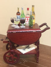 Dollhouse Miniature Town Square Mahogany Wood Tea Beverage Cart & Accessories