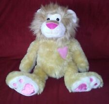 CS Intl Toys HEARTBEAT LION Tan Plush Pink Chest Heart Nose Heart Foot Pads