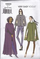 Vogue Very Easy Sewing Pattern Misses' Loose Fitting Lined Cape   6 - 22 V8959