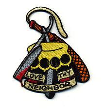 Love Thy neighbor patch badge tattoo design flash sailor jerry brass knuckle